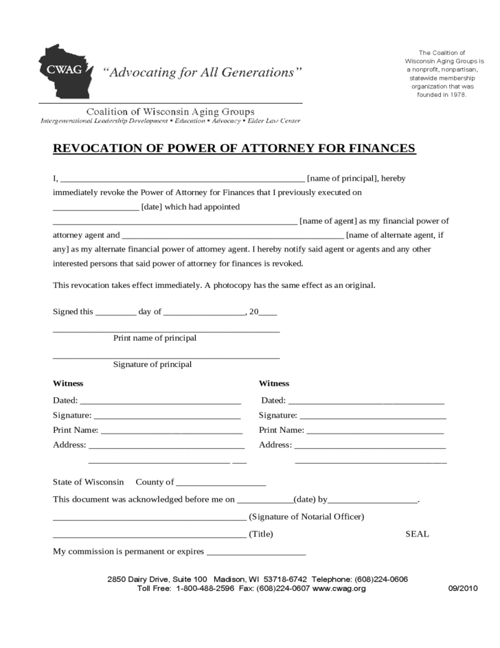Revoking A Power Of Attorney For Finances Form Wisconsin Free Download