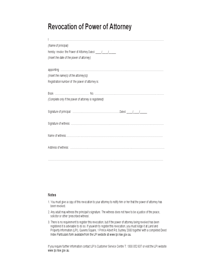 Revocation of Power of Attorney Form - Australia Free Download