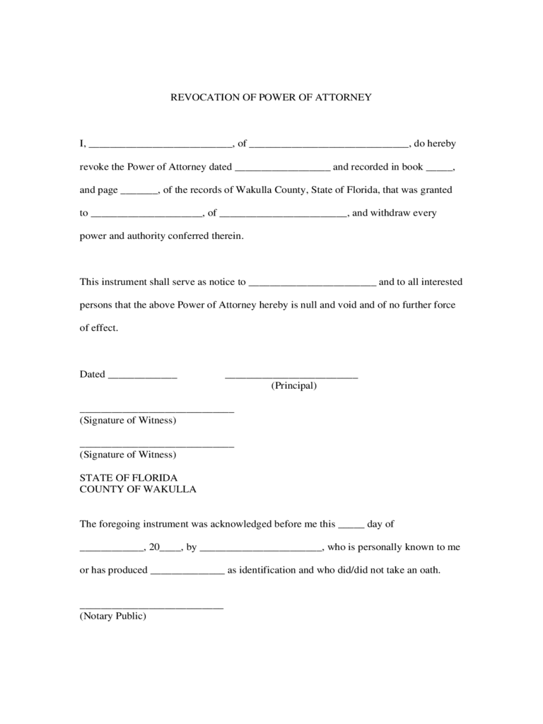 Revocation of Power of Attorney Form - Florida