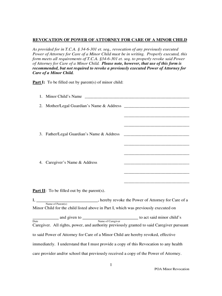 tennessee power of attorney form