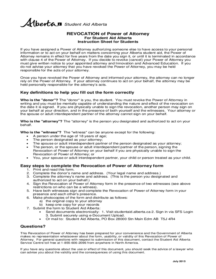 Revocation Of Power Of Attorney Canada Student Aid Alberta Free