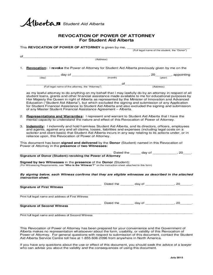 power of attorney form alberta  Revocation of Power of Attorney - Canada Student Aid Alberta ...
