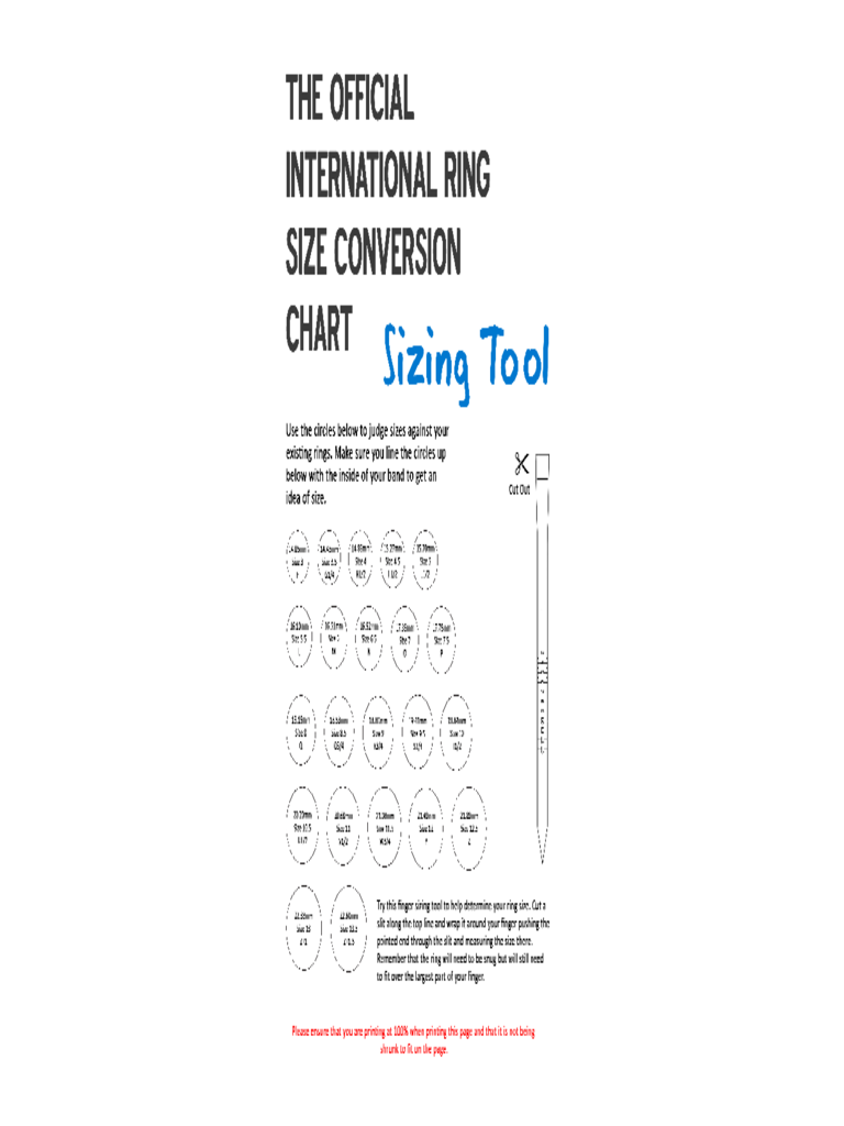 Official International Ring Size Conversion Chart