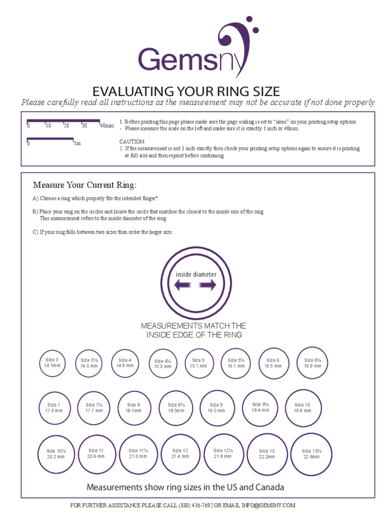 Sample Ring Size Chart