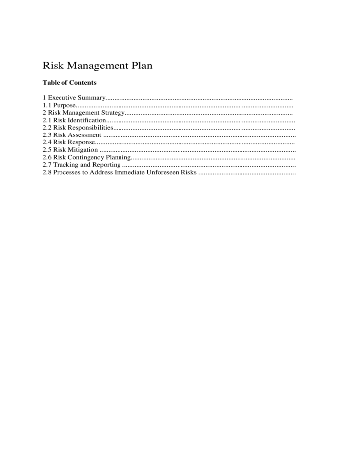 Sample Risk Management Plan Template Free Download – IT Contingency Plan Template