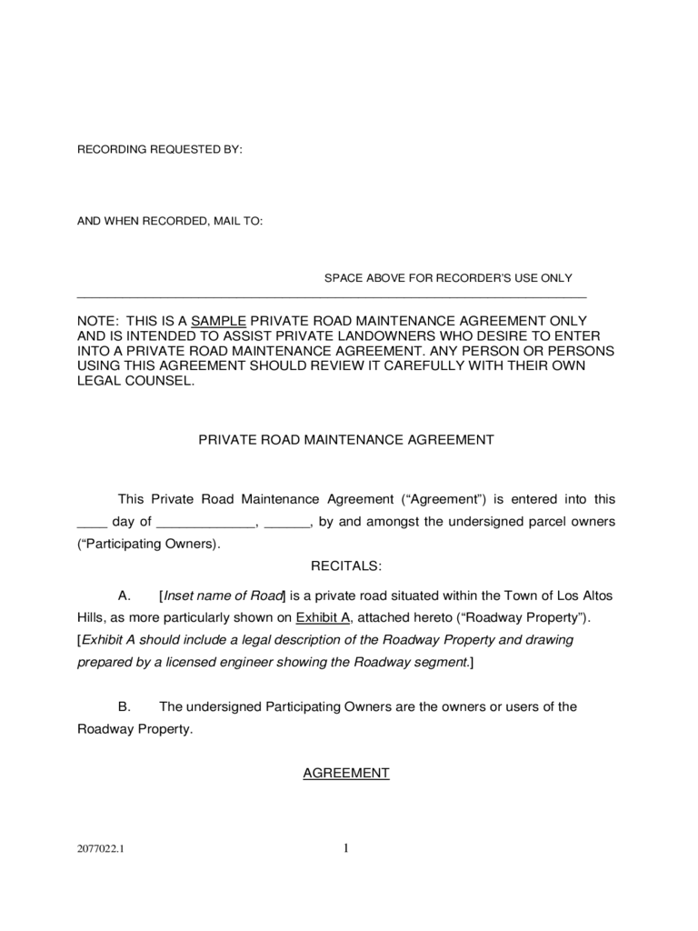 Private Road Maintenance Agreement   Los Altos Hills, California  Private Agreement Template