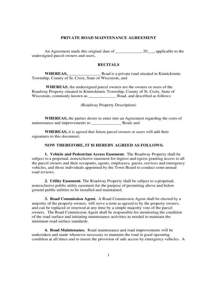 road maintenance agreement form Private Road Maintenance Agreement - Wisconsin Free Download