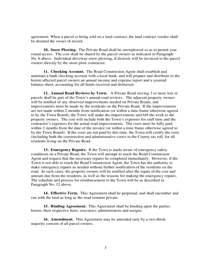 Private Road Maintenance Agreement Wisconsin Free Download