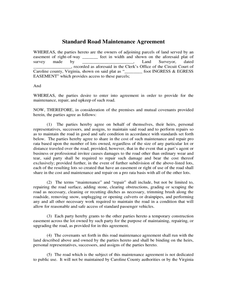 road maintenance agreement form Road Maintenance Agreement Form - 6 Free Templates in PDF, Word ...