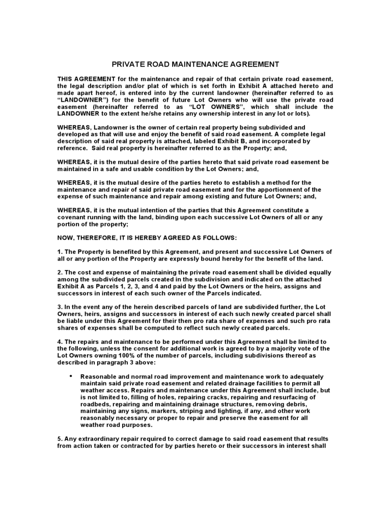 Road Maintenance Agreement Form 6 Free Templates In Pdf Word