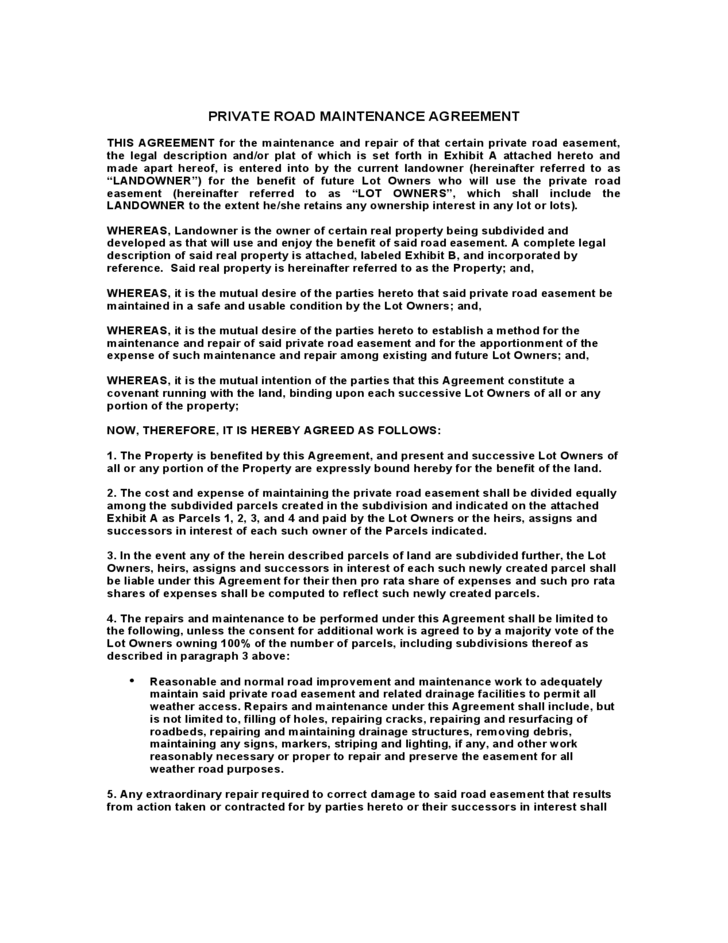 Sample Private Road Maintenance Agreement Free Download