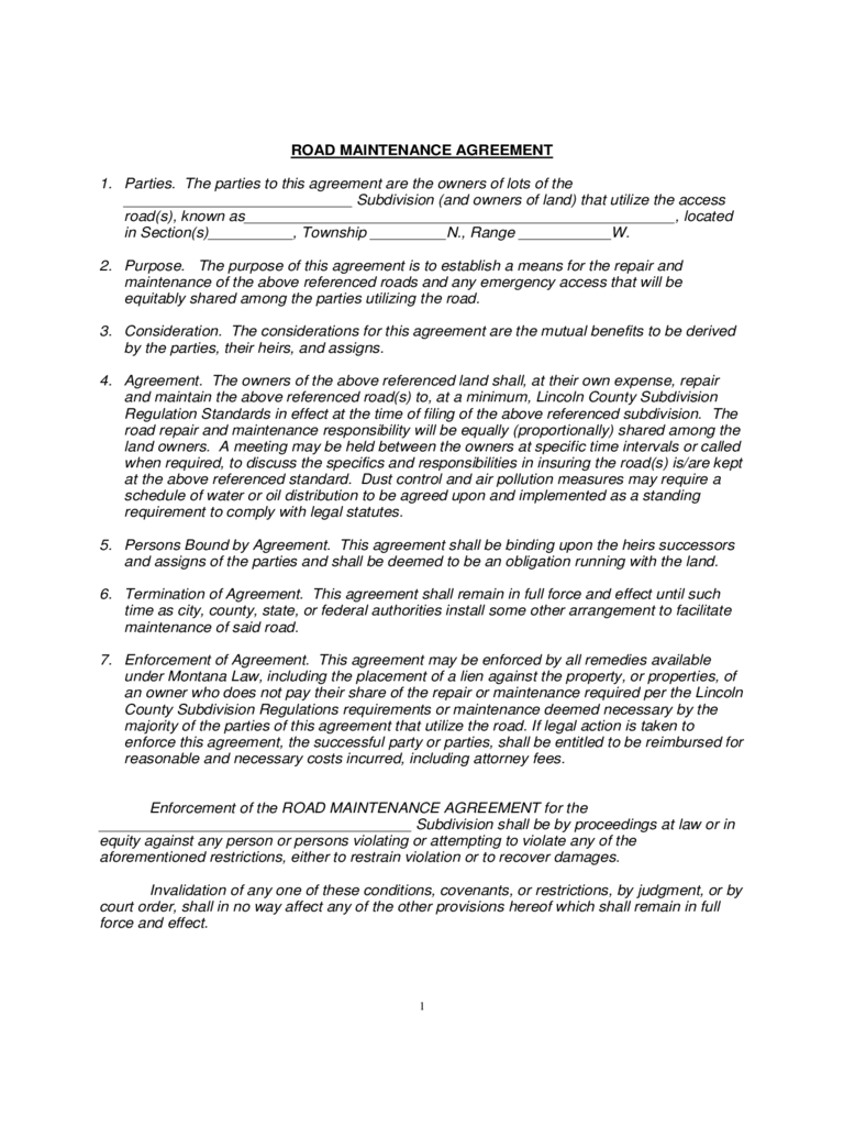 Road Maintenance Agreement   Montana
