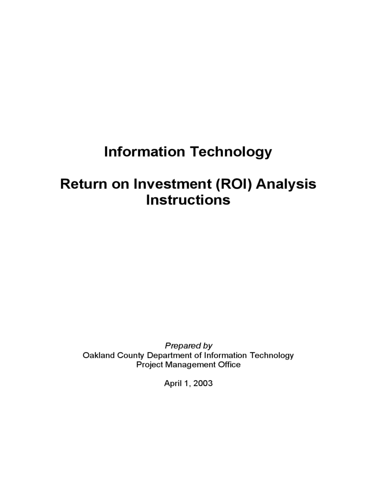 Information Technology Return on Investment (ROI) Analysis Instructions - Oakland