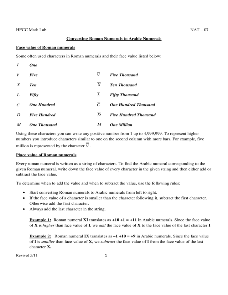 Roman Numeral Conversion Practice Chart Free Download