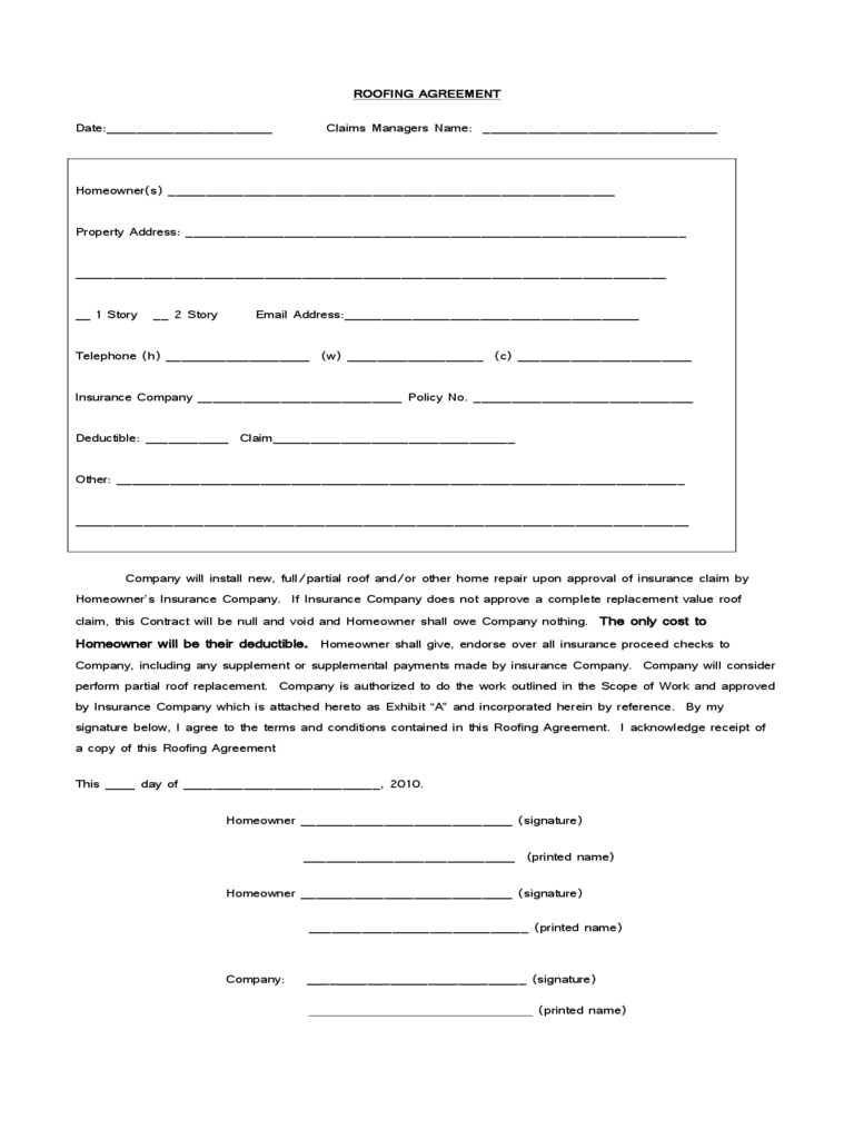 Roofing Contract Template 2 Free Templates in PDF Word Excel