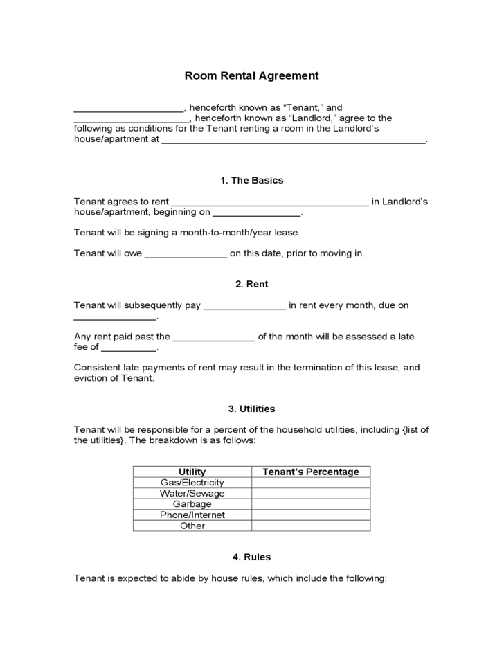 Blank Room Rental Agreement Free Download