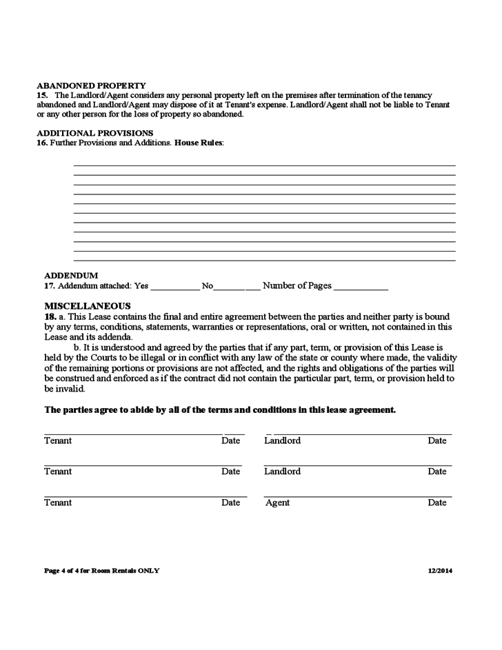 Room Rental and Lease Sample Form