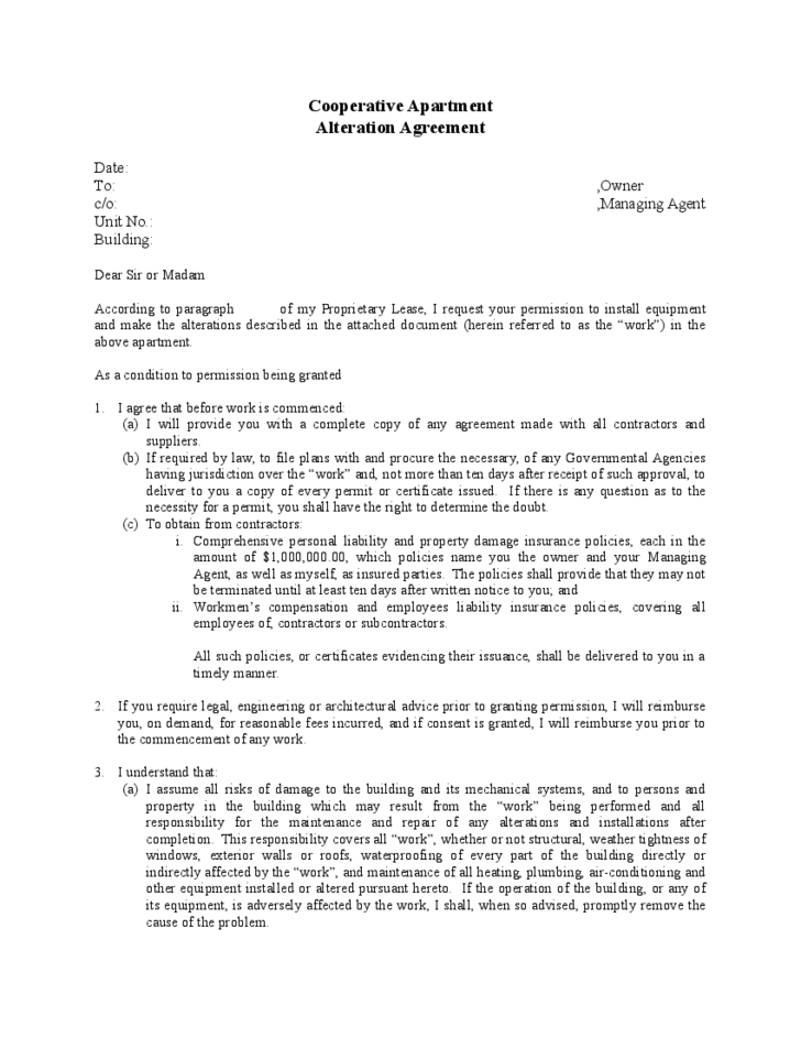 cooperative apartment alteration agreement free download