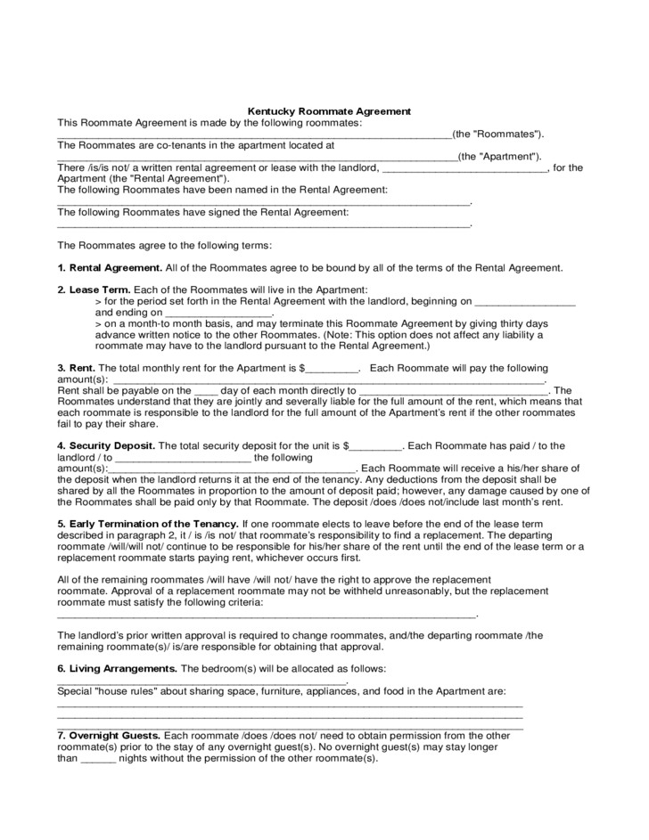 Kentucky Roommate Agreement Form Free Download – Roommate Agreement Form