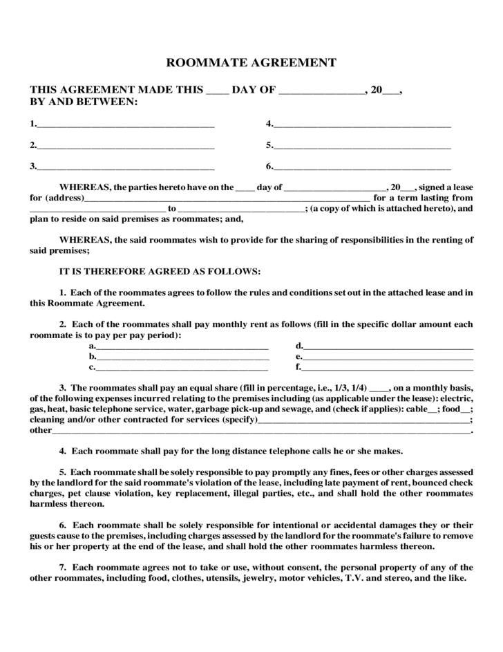 roommate agreement template free - sample roommate agreement free download