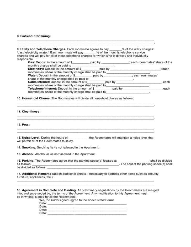 sample roommate agreement form free download