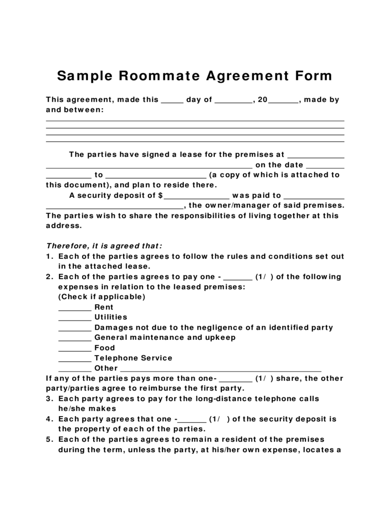 Sample Form for Roommate Agreement