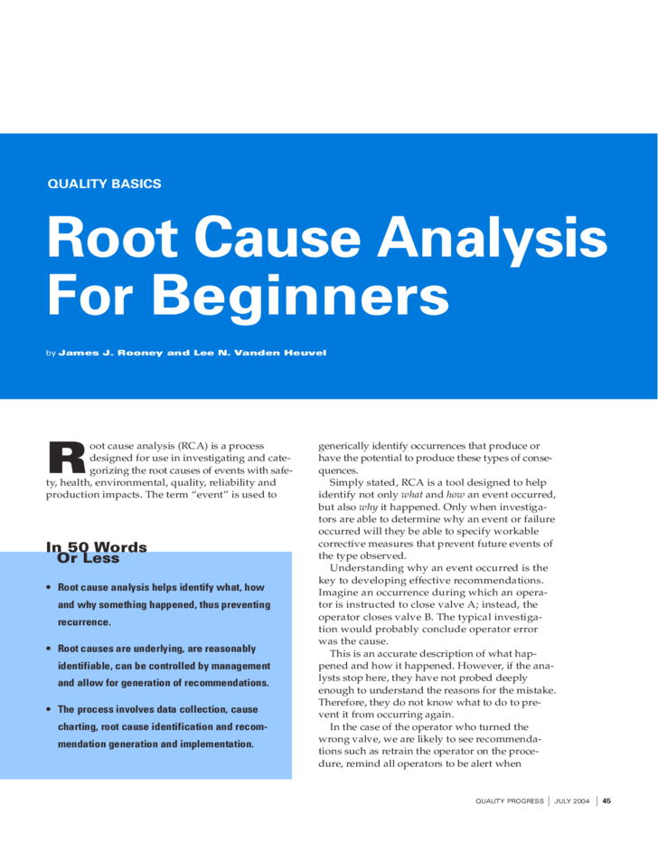 Root Cause Analysis For Beginners Free Download