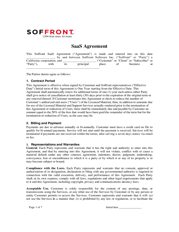 SaaS Agreement Soffront Software Free Download