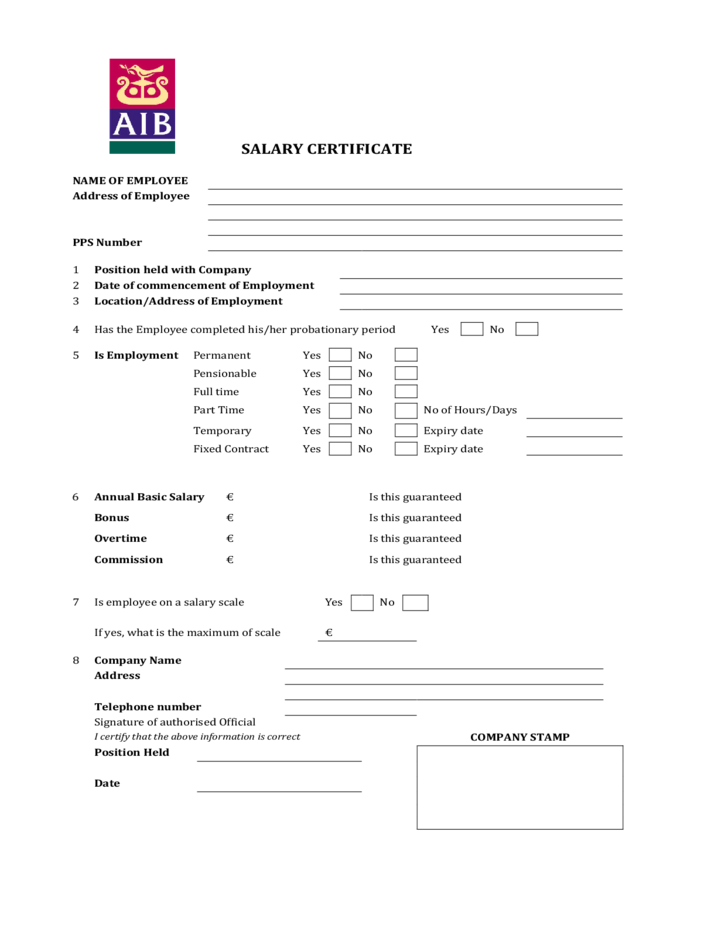 Salary certificate form 21 free salary certificate template word salary certificate form aib free download yadclub Images