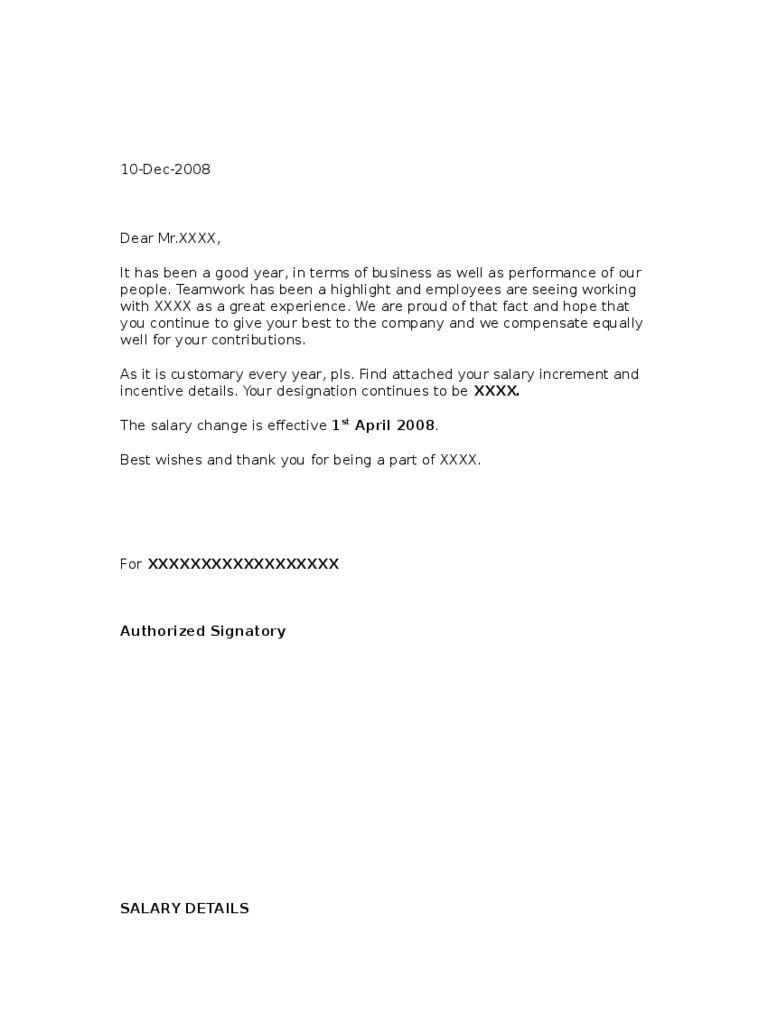 sample salary increment letter from employer