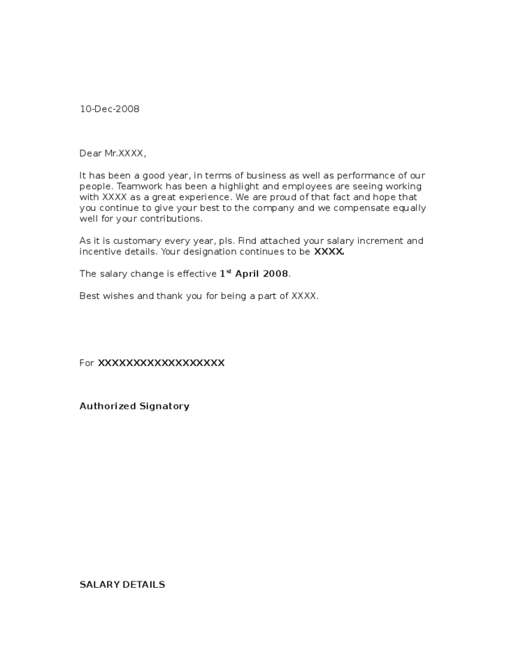 1 sample salary increment letter from employer