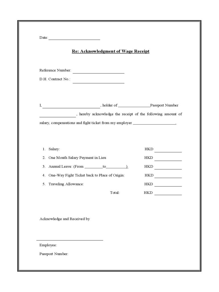 receipt of document form – Basic Receipt Template