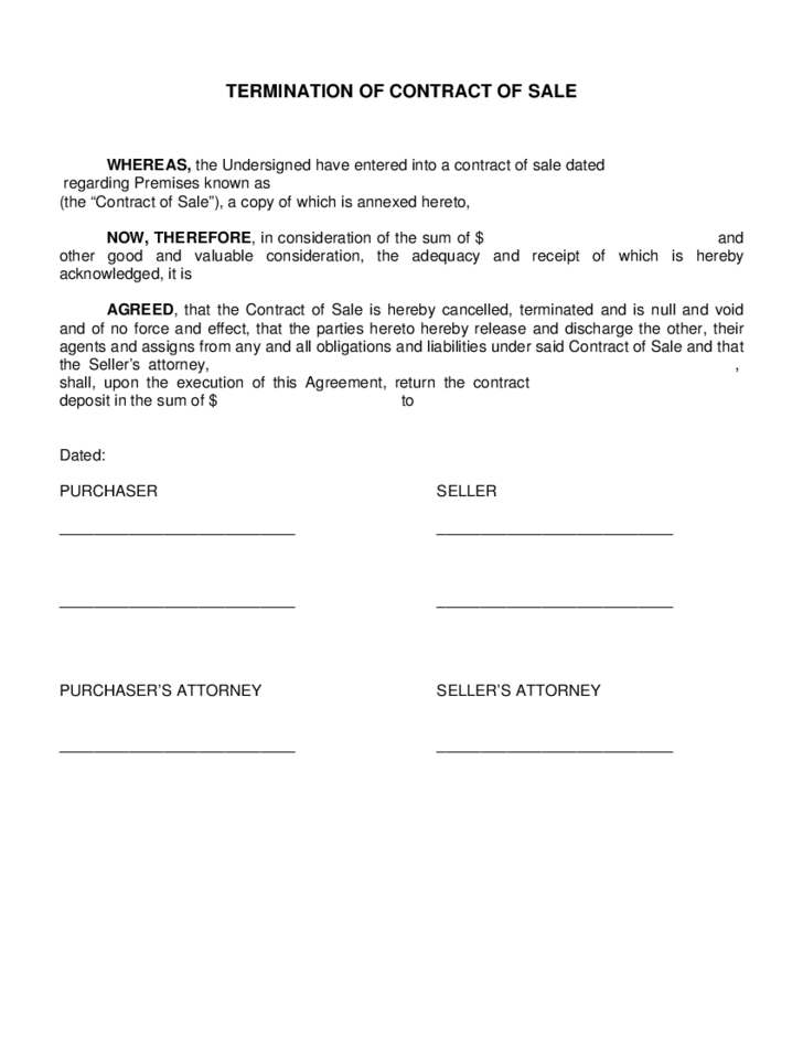 Termination Of Contract Of Sale Free Download