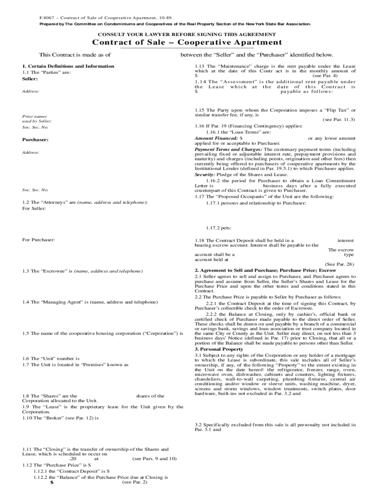 Contract of Sale - Cooperative Apartment Template