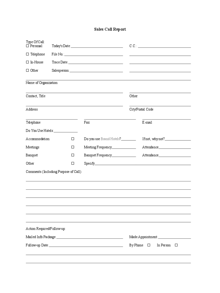 Sample Sales Call Report Template