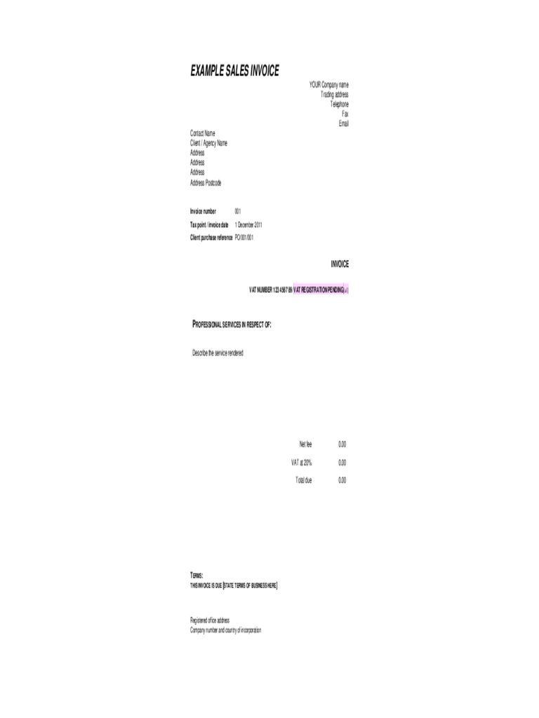 Example Sales Invoice Template Free Download
