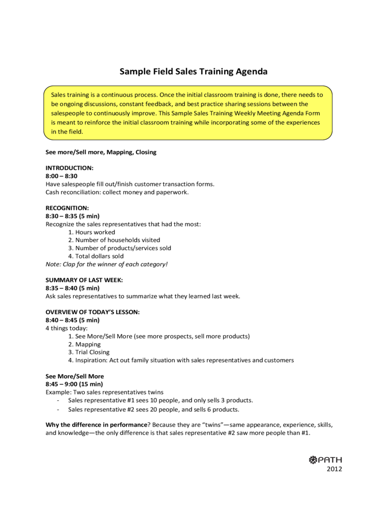 Sample Fields Sales Training Agenda