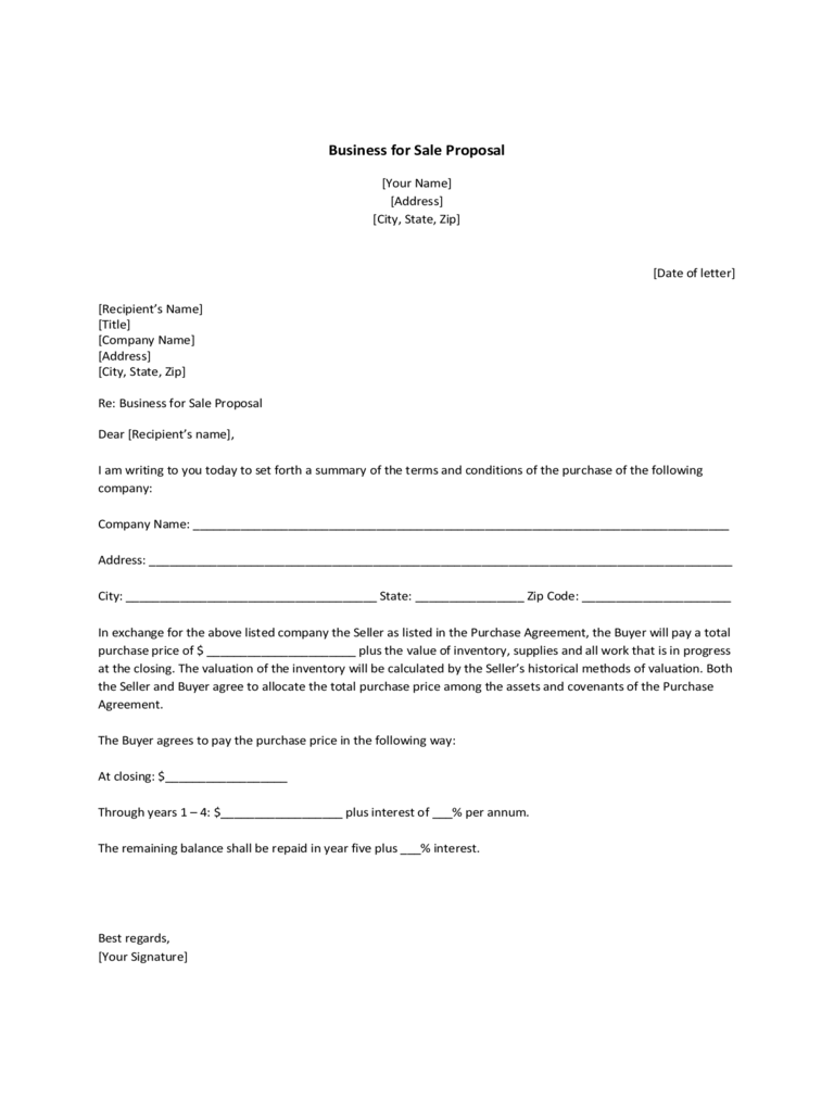 Business for Sale Proposal