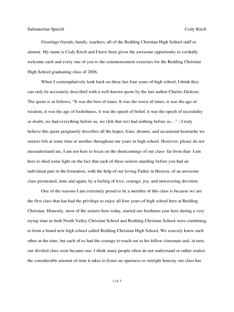 Salutatorian Speech Examples 5 Free Templates in PDF Word – Graduation Speech Example Template