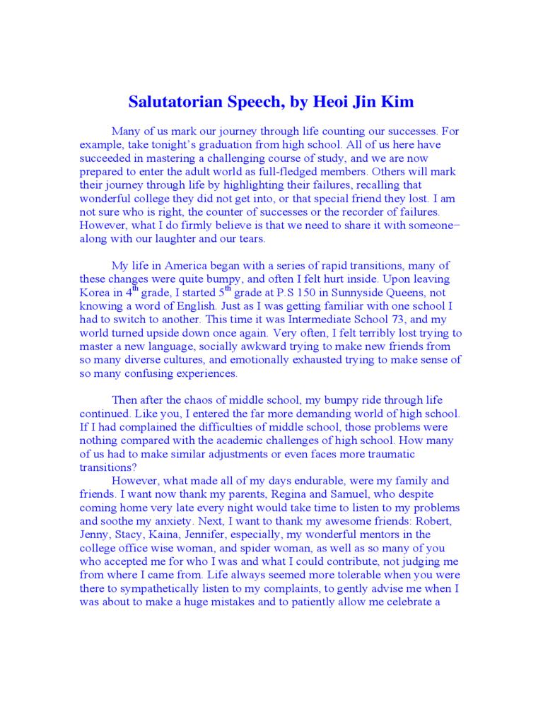 Salutatorian Speech Examples 5 Free Templates in PDF Word – Speech Examples