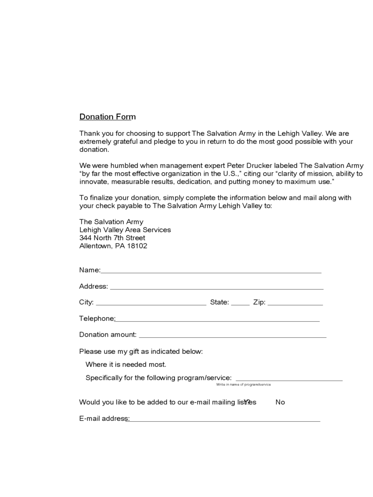 Donation Form - Lehigh Valley