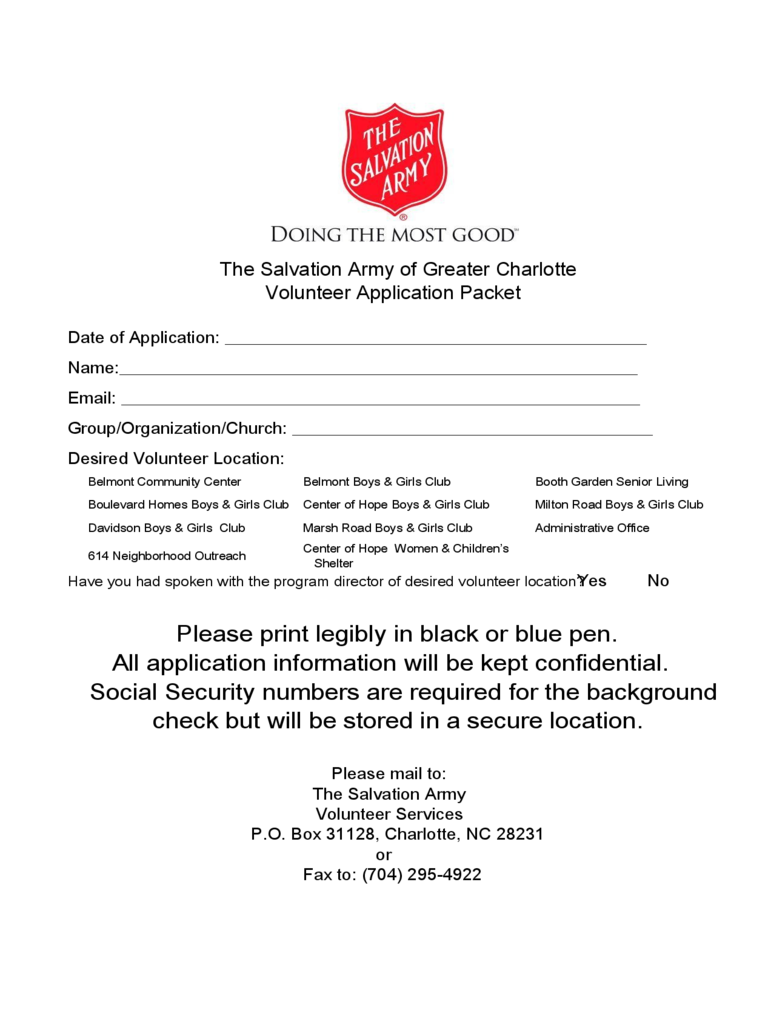 salvation army volunteer application form 2 free templates in pdf