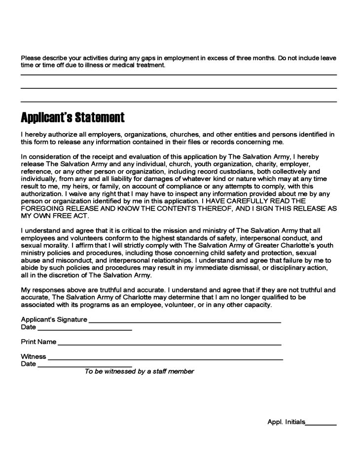 salvation army volunteer application form