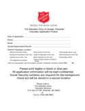 Salvation Army Volunteer Application Form - Carolina Free Download