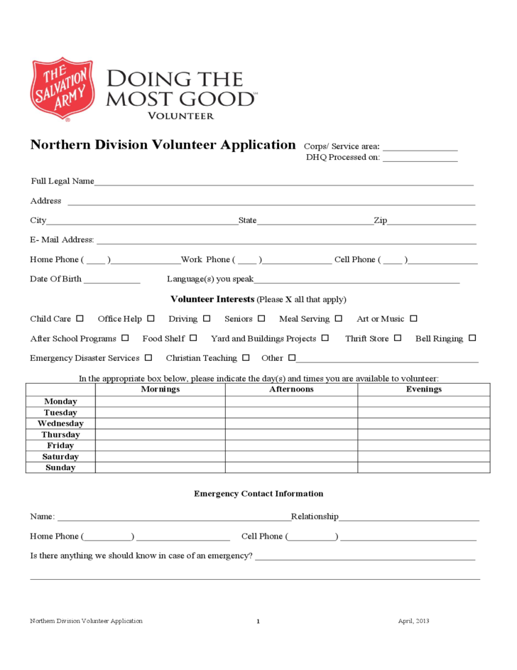 Salvation Army Volunteer Application Form Sample Free Download