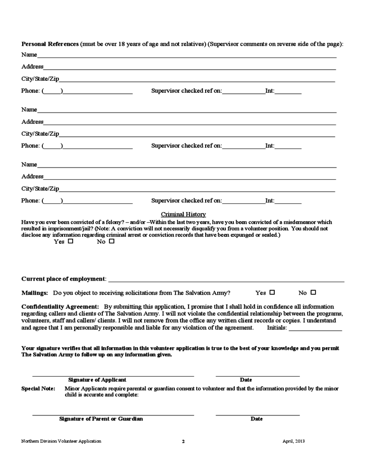 2 Salvation Army Volunteer Application Form Sample