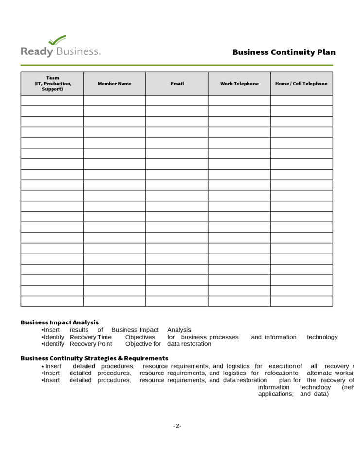 2 Simple Business Continuity Plan Template  Business Continuity Plan Template Free Download
