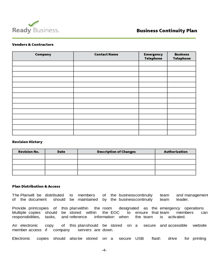 Business Continuity Plan Template Free Download - Free business continuity plan template