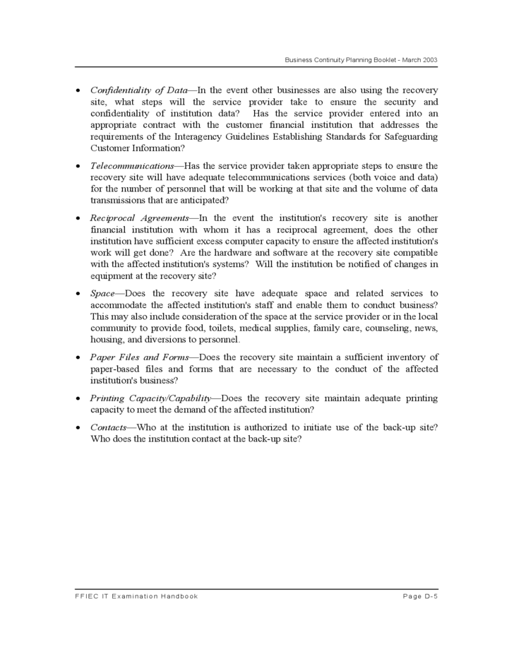 Formal Business Continuity Planning Booklet Free Download
