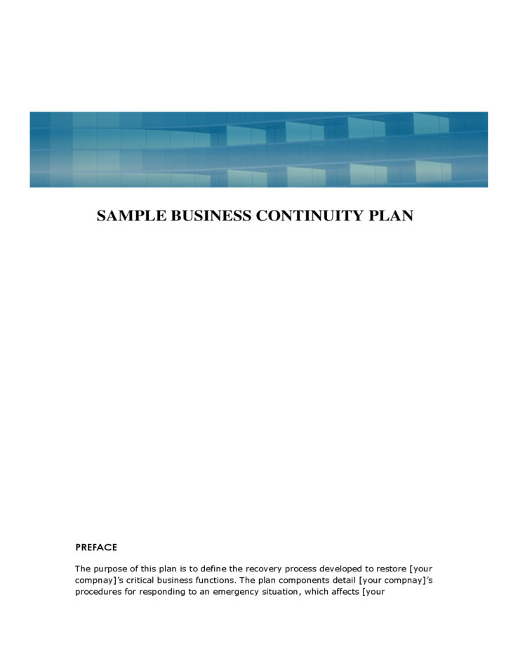 Sample Business Continuity Plan Template Free Download – Business Continuity Plan Template Free Download